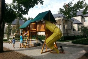 Cedar playground - swing set - wooden play set - residential playground equipment - Jungle Gyms Canada