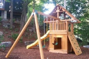 cedar playground - swing set - cottage play - wooden play set - Jungle Gyms Canada