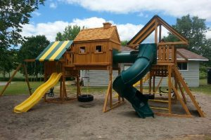playgrounds for campgrounds - imagination swing set 1 - wooden playgrounds - swings - slides - Jungle Gyms Canada