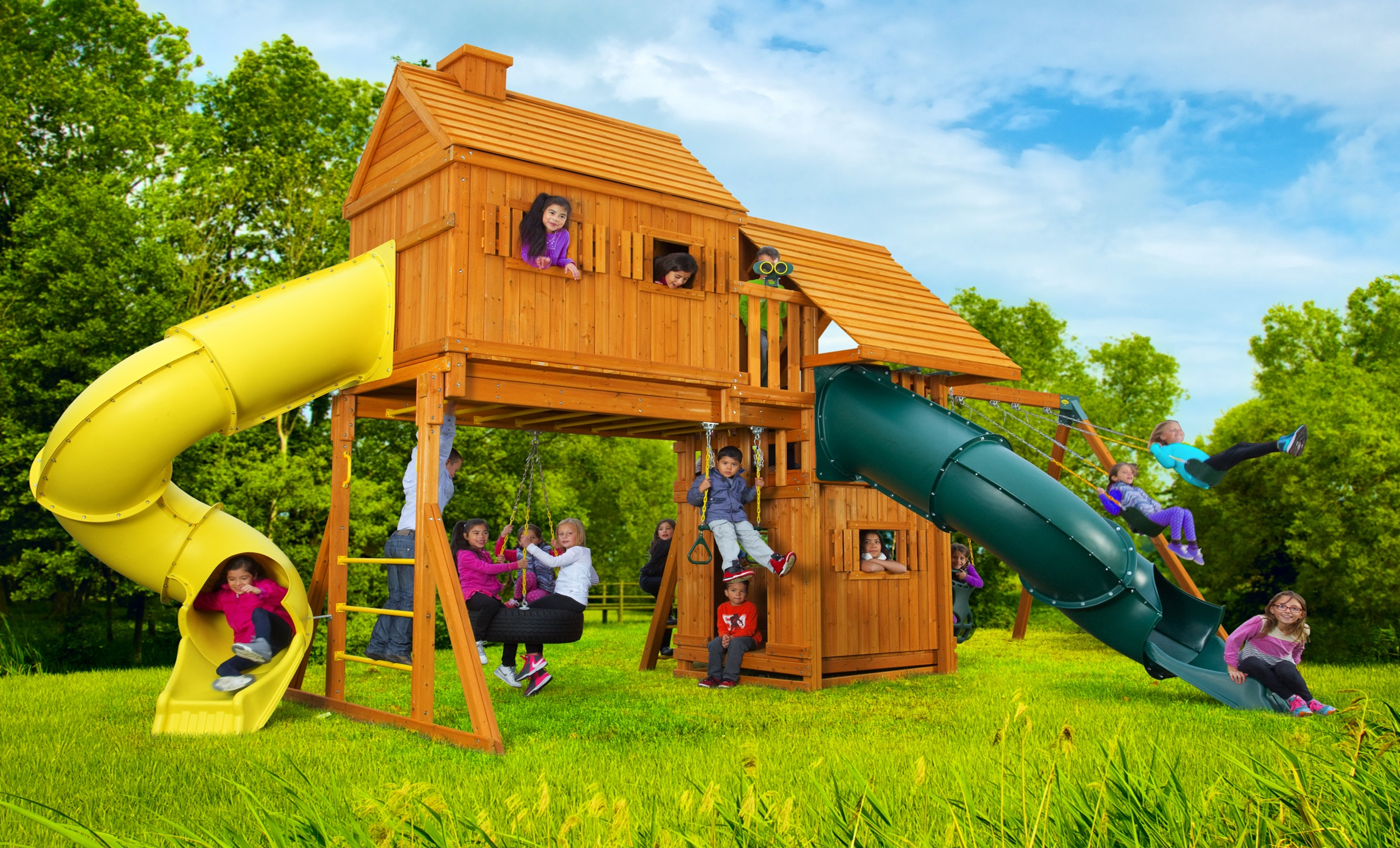 Fantasy tree house jungle gyms canada for Tree house swing set