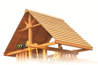 Wood Roof - cedar playground roof - backyard playsets - residential swing set equipment - Jungle Gyms Canada