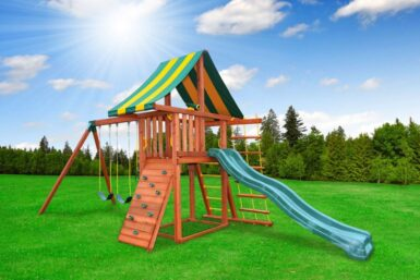 Dreamscape Swing Set 1 - Wooden backyard playset - residential playground - Jungle Gyms Canada