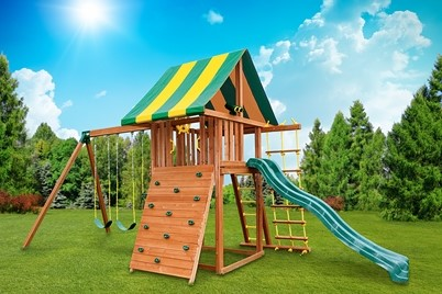 Dream 6 Swing Set - backyard jungle gym - residential wooden play set - Jungle Gyms Canada