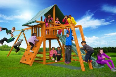 Dream 3 Backyard Wooden Swing Set - Jungle Gyms Canada