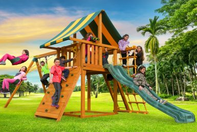 Residential playground, swing set, backyard fun