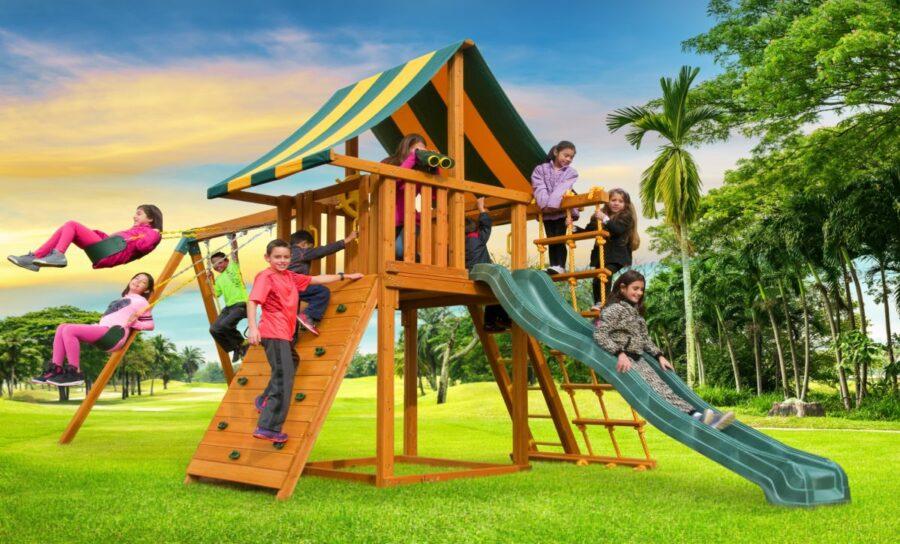 Residential playground, swing set, backyard fun