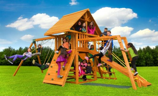 Dream Swing Set 6 - backyard playground - wooden play set - slide - Jungle Gyms Canada