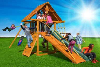features a wood roof and a gang plank ramp for additional clubhouse access