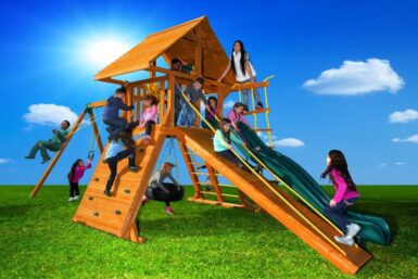 Extreme 6 Cedar Swing Set - Wooden Playground - Jungle Gyms Canada