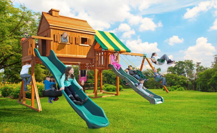 Swing Set, Tree House, Backyard Fun, Residential Playground, Kids