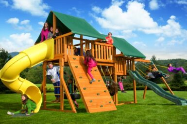 Fantasy Swing Set 1 - backyard Jungle Gym - wooden playset - Jungle Gyms Canada
