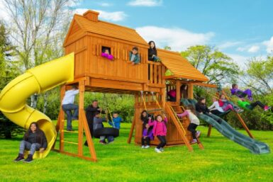 Fantasy Tree House 7 - Back Yard Playset - Wooden Swing Set - Jungle Gyms Canada