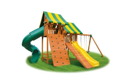Wooden Swing Set - Sky 2 - slides - back yard play - Jungle Gyms Canada