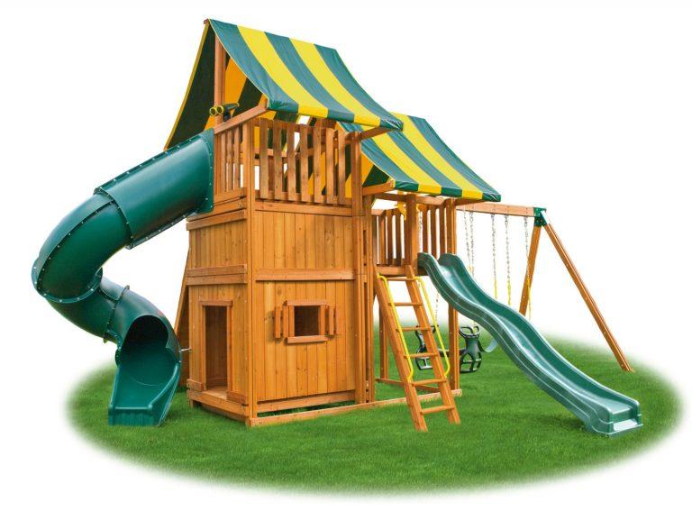 Back yard Playset - Sky Swing Set 4 - cedar playground - Jungle Gyms Canada