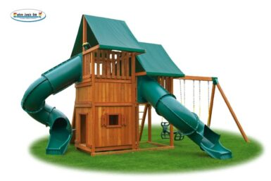 Sky Swing Set 5 - wooden play set - back yard play - Jungle Gyms Canada