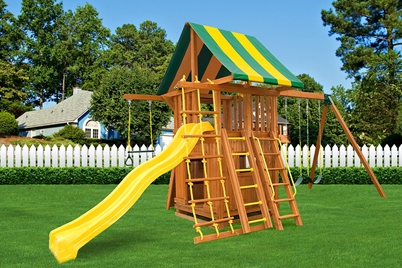 Dream 4 Swing Set - wooden play set - residential back yard playground - Jungle Gyms Canada