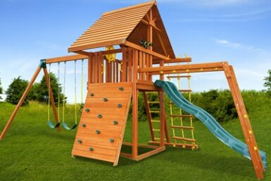 Dream 5 Swing Set - backyard wooden playset - residential playground equipment - Jungle Gyms Canada