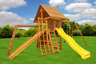 Dream 6 swing set - wooden play set - residential playground - Jungle Gyms Canada