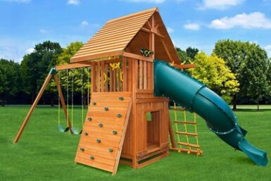 Dream Swing Set 7 - outdoor play - backyard playground - wooden play set - Jungle Gyms Canada