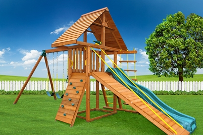 Dreamscape Swing Set 5 - backyard wooden playground - Jungle Gyms Canada