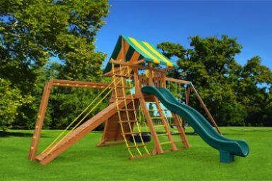 Extreme 3 Wooden Backyard Swing Set - Jungle Gyms Canada