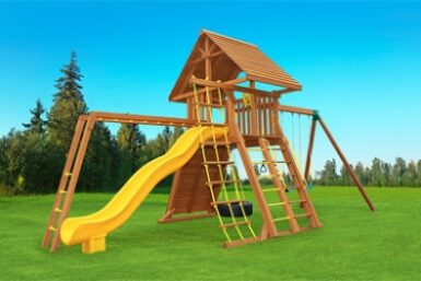 Extreme 5 Wooden Swing Set - Jungle Gyms Canada