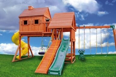 Wooden Swing Set - Fantasy Tree House 3 - Backyard Playset - Jungle Gyms Canada