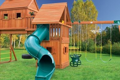 Fantasy Tree House 5 Swing Set - Wooden playground equipment - Jungle Gyms Canada