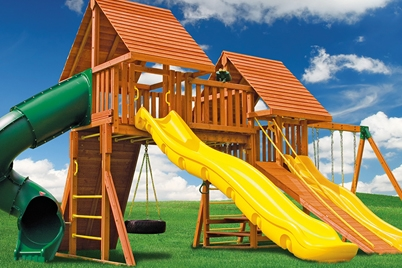 Fantasy 3 swing set - cedar back yard residential play set - Jungle Gyms Canada