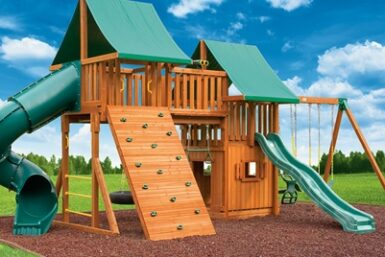 Fantasy Swing Set 4 - cedar backyard jungle gym - Jungle Gyms Canada