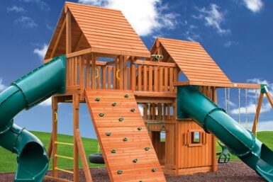 Fantasy Jungle Gym Swing Set 5 - wooden backyard playground set - Jungle Gyms Canada