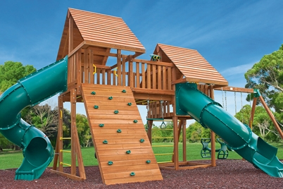 Fantasy Swing Set 6 - Backyard wooden playset - Jungle Gyms Canada