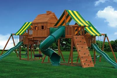 Wooden Play Set - Imagination 1 Swing Set - Backyard Jungle Gym - Jungle Gyms Canada