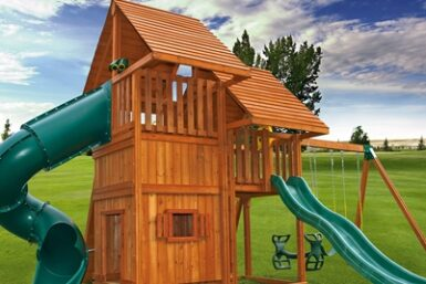 Sky Swing Set 7 - Backyard Cedar Playset - Jungle Gyms Canada