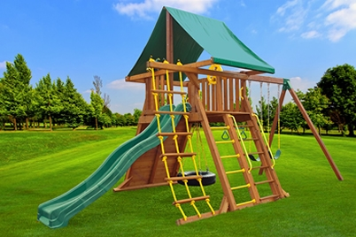 Supreme Swing Set 1 - wooden playset - Jungle Gyms Canada