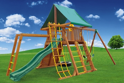 Supreme Swing Set 2 - cedar playset - Jungle Gyms Canada
