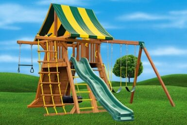 Wooden Backyard Swing Set - Supreme 3 - Jungle Gyms Canada