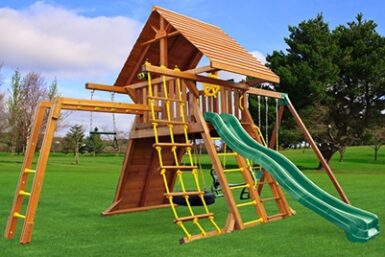 Cedar Swing Set - Supreme 4 - Backyard Playset - Jungle Gyms Canada