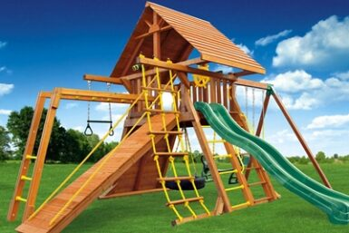 Supreme Wooden Swing Set 5 - Backyard Playset - Jungle Gyms Canada