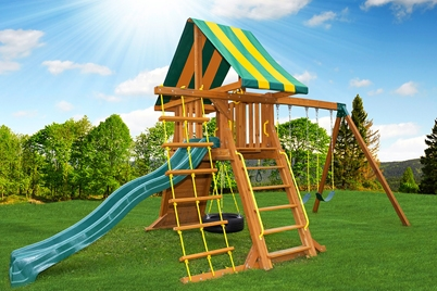 Cedar Swing Set - Supremescape 1 - Canadian backyards - Jungle Gyms Canada