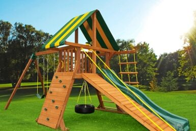 Cedar Swing Set - Supremescape 4 - Backyard Play - Jungle Gyms Canada