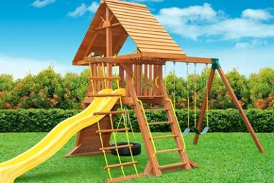 Supremescape Wooden Swing Set #5 - Backyard play - Jungle Gyms Canada