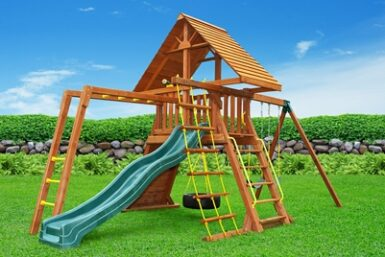 Supremescape Wooden Swing Set 6 - Backyard Play - Jungle Gyms Canada