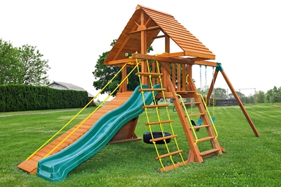 Supremescape Wooden Swing Set 7 - Cedar Playset - Jungle Gyms Canada