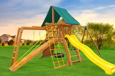 Supremescape Wooden Swing Set 8 - Backyard Play - Jungle Gyms Canada