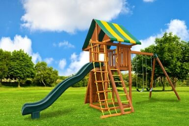 Ultimate Swing Set 1 - back yard wooden playset - Jungle Gyms Canada