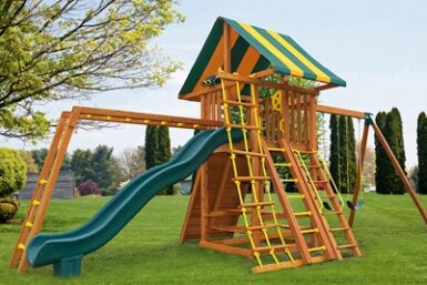 Wooden Play Set - Ultimate Swing Set 3 - Jungle Gyms Canada