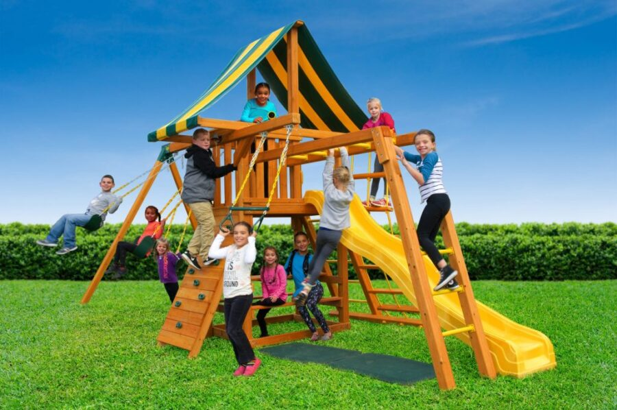 Featuring Monkey bars and a built-in picnic table set
