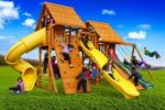 Fantasy Swing Set #3 with Wood Roofs, 5' Closed Spiral Slide and 14' Scoop Slide