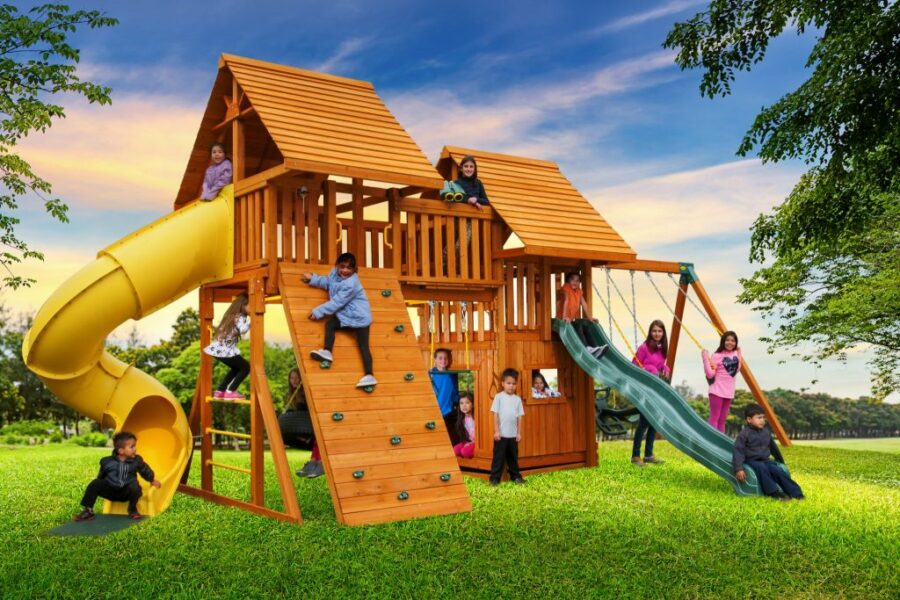Fantasy Swing Set #4 with Wood Roofs and Bottom Clubhouse